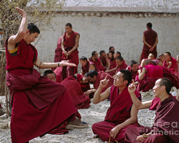 Craig Lovell Poster featuring the photograph Debating Monks - Sera Monastery Lhasa by Craig Lovell