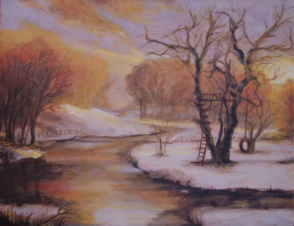 Winter Poster featuring the painting December Evening by Marcia Johnson