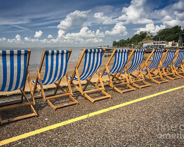 Empty Deckchairs Poster featuring the photograph Deckchairs At Southend by Sheila Smart Fine Art Photography