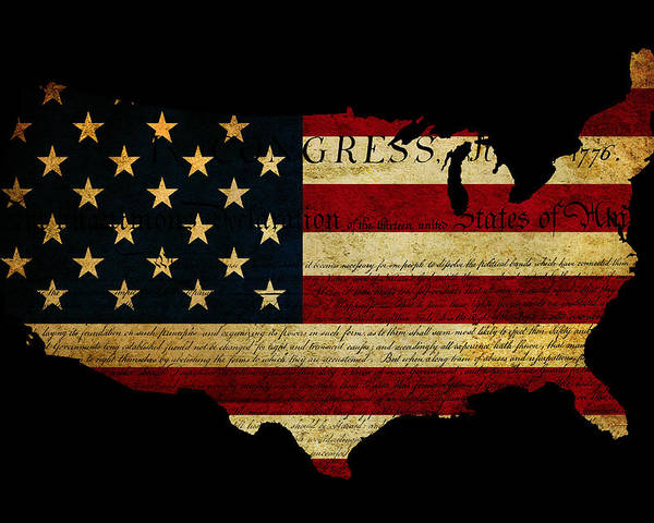 Usa Poster featuring the photograph Declaration Of Independence Grunge America Map Flag by Matthew Gibson