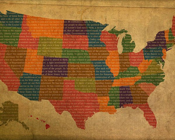 Declaration Poster featuring the mixed media Declaration Of Independence Word Map Of The United States Of America by Design Turnpike