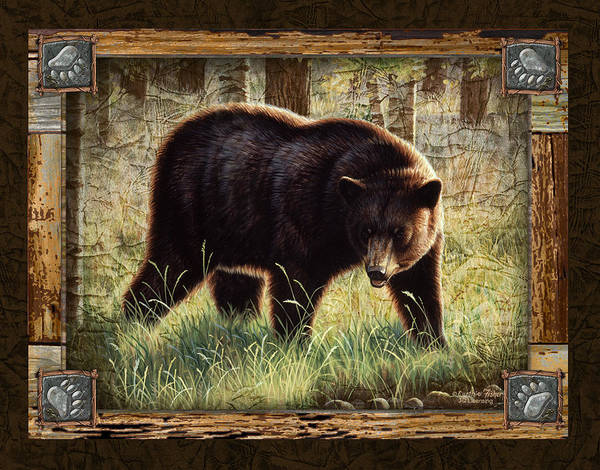 Cynthie Fisher Poster featuring the painting Deco Black Bear by JQ Licensing