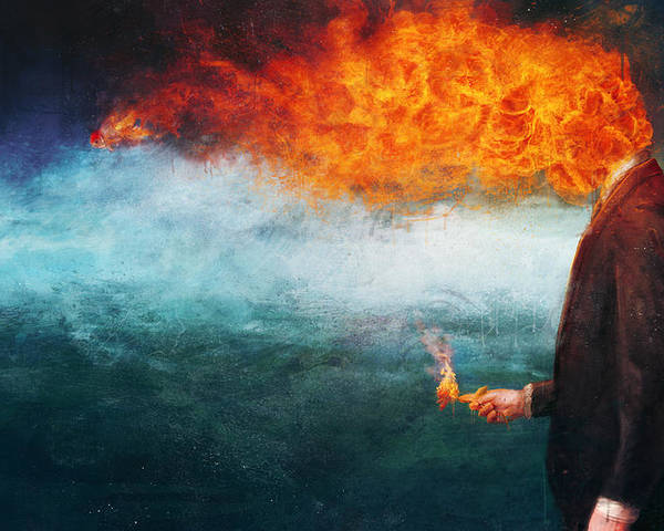 Fire Poster featuring the painting Deep by Mario Sanchez Nevado