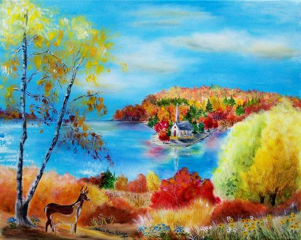 Autumn Poster featuring the painting Deer And Country Church Autumn Scene by Melanie Palmer