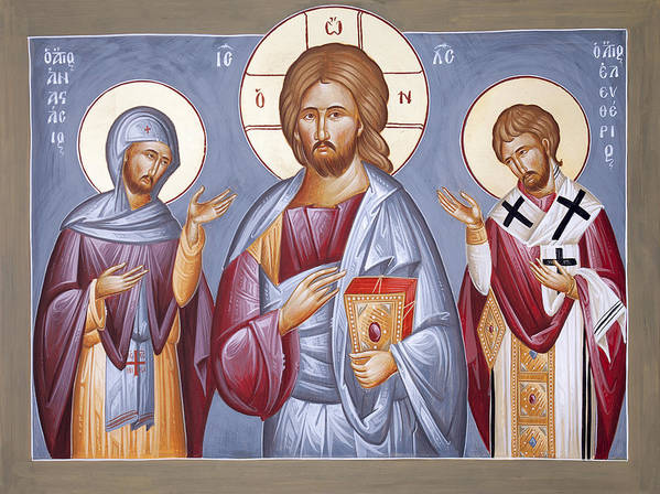 Deisis Poster featuring the painting Deisis Jesus Christ St Anastasios And St Eleftherios by Julia Bridget Hayes