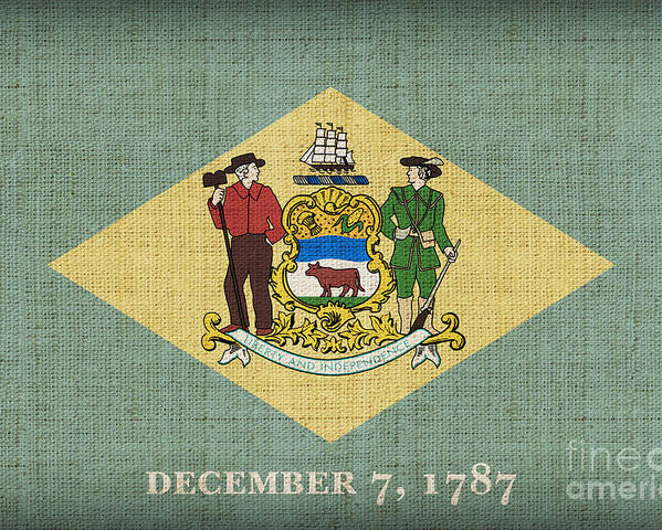 Delaware Poster featuring the painting Delaware State Flag by Pixel Chimp