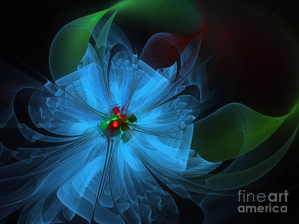 Abstract Poster featuring the digital art Delicate Blue Flower-fractal Art by Karin Kuhlmann