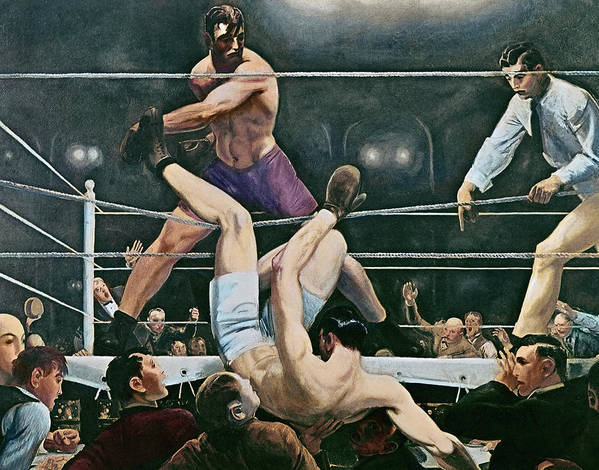 Referee; Knock Out; Punch; Punching; Fight; Fighters; Fighting; Winner; Loser; Boxing Ring; Match; Illustration; Audience; Spectators; Sport; Sportsmen; Male; Falling; Crowd; Ropes; 1920s; Twenties; 20s; Pugilist; Pugilism; Aggression; Portrait; Athlete; Gesture; Winning; Jack; Manassa Mauler; Dempsey; American; Boxer; And Luis; Ange;l Firpo; Argentine; Boxers; Masculine; Masculinity; Men; Man; Manly; Fitness; Spots; Tournament; Oil Painting; Oil Paint; George Wesley; Bellows; Muscle; Muscles Poster featuring the painting Dempsey V Firpo In New York City by George Wesley Bellows