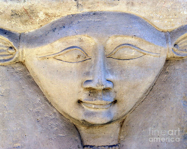 Hathor Poster featuring the photograph Dendara Carving 2 - Hathor by Brian Raggatt