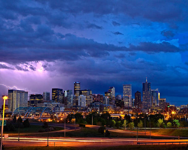 Landscape Poster featuring the photograph Denver Skyline by John K Sampson