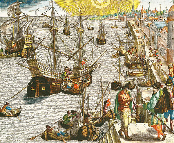 Harbour Poster featuring the painting Departure From Lisbon For Brazil by Theodore de Bry