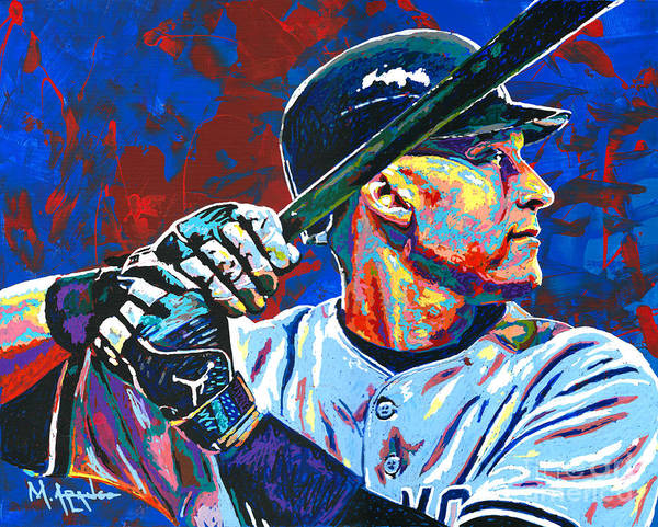 Derek Jeter Poster featuring the painting Derek Jeter by Maria Arango