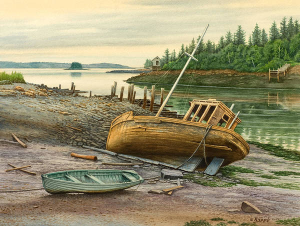 Harbor Poster featuring the painting Derelict Boat by Paul Krapf