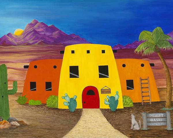 Whimsicle Desert Inn Has Vacancy Poster featuring the painting Desert Oasis by Carol Sabo