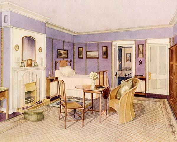 Interior Poster featuring the drawing Design For The Interior Of A Bedroom by Richard Goulburn Lovell