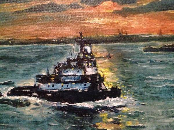 Boat Poster featuring the painting Detail Of Tugboat In Upper New York Bay by Victor SOTO
