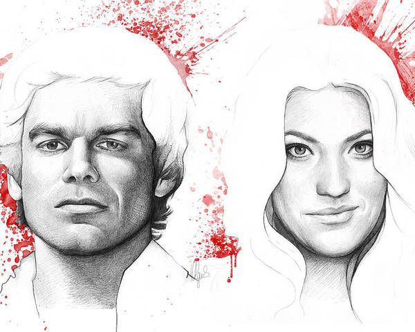 Dexter Poster featuring the drawing Dexter And Debra Morgan by Olga Shvartsur