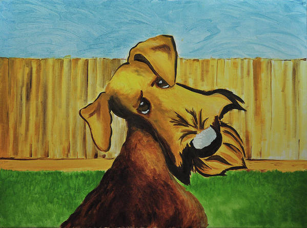 Airedale Art Poster featuring the painting Dexter by Ruben Barbosa