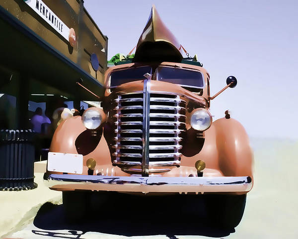 Diamond T Poster featuring the photograph Diamond T Truck - Sahara by Lesa Fine