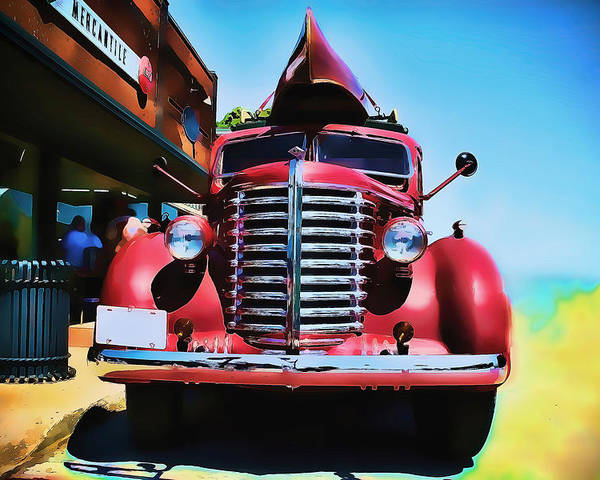 Diamond T Poster featuring the photograph Diamond T Truck - Tomato Red by Lesa Fine