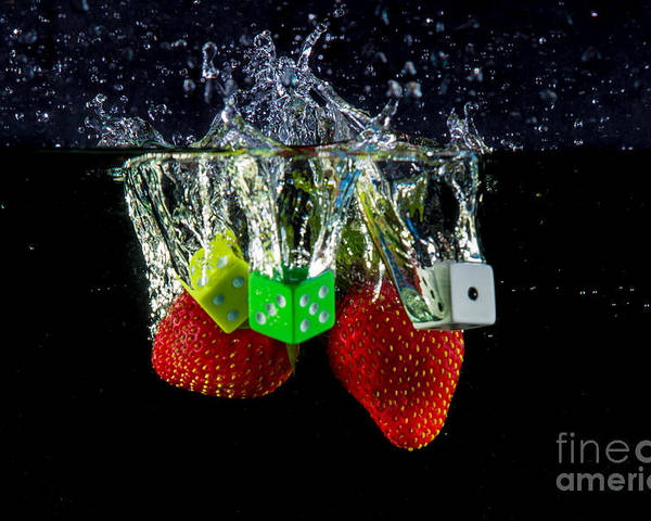 Dice Poster featuring the photograph Dice Splash by Rene Triay Photography