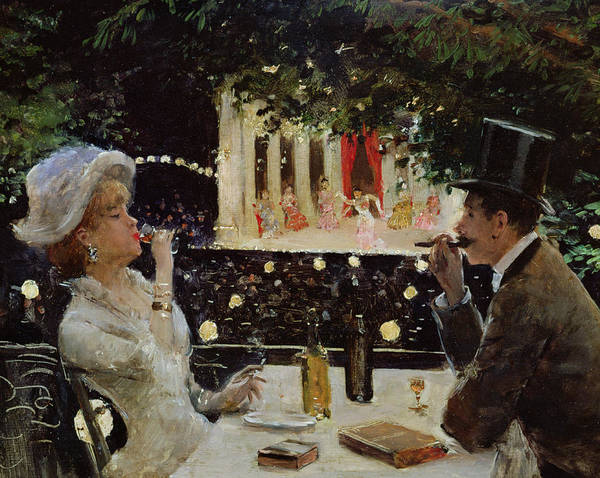 Couple; Entertainment; Evening; Smoking; Prostitute; Tart; Drinking; Paris; Restaurant; Theatre; Dining; Diner Aux Ambassadeurs; Couple Poster featuring the painting Dinner At Les Ambassadeurs by Jean Beraud