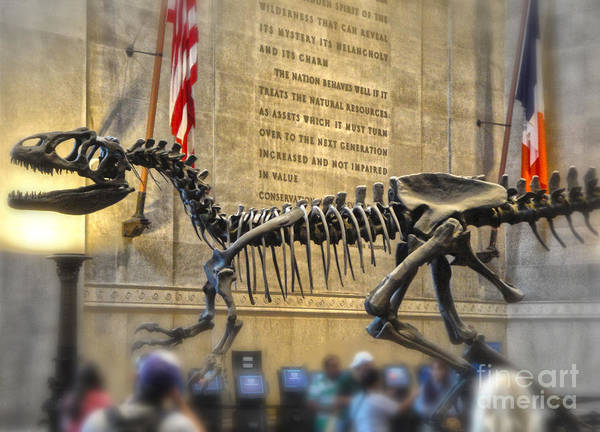 Dinosaurs Poster featuring the photograph Dinosaur At The Natural History Museum by Gregory Dyer