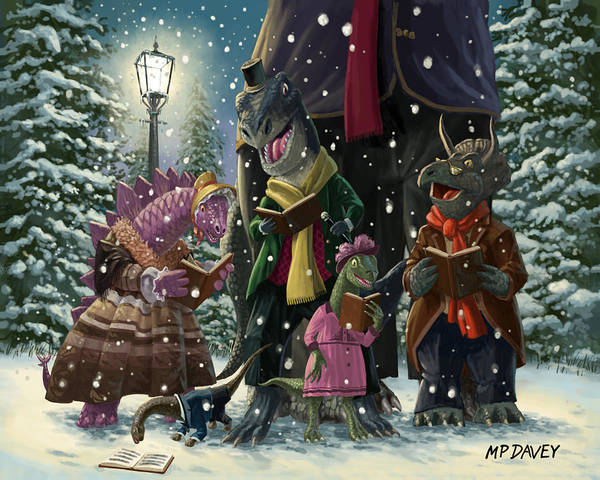 Christmas Poster featuring the painting Dinosaur Carol Singers by Martin Davey