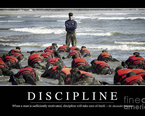 Horizontal Poster featuring the photograph Discipline Inspirational Quote by Stocktrek Images