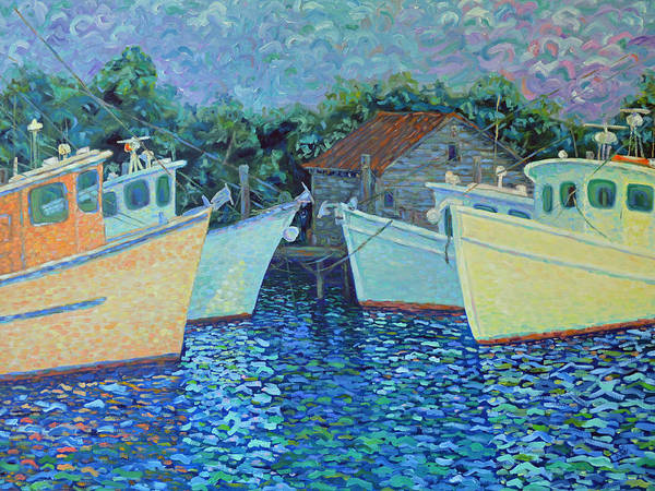 Shrimp Boats Poster featuring the painting Divisionistic Shrimp Boats by Dwain Ray
