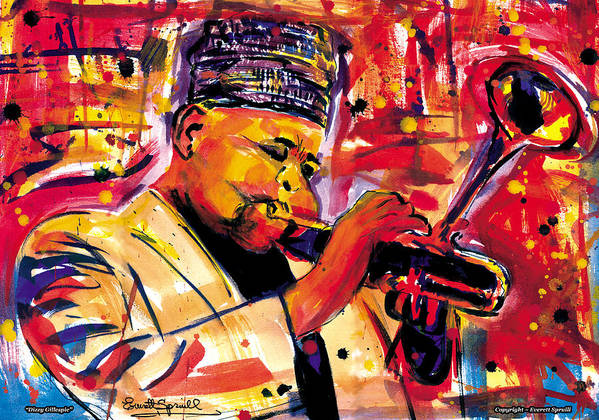 Dizzy Gillespie Poster featuring the painting Dizzy Gillespie by Everett Spruill