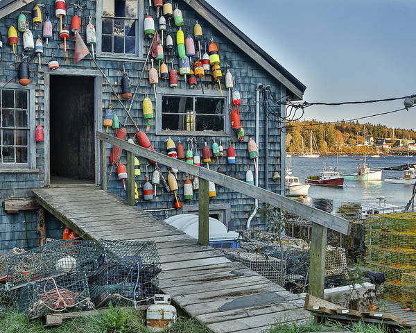 Horzontal Poster featuring the photograph Dock House In Maine by Jon Glaser