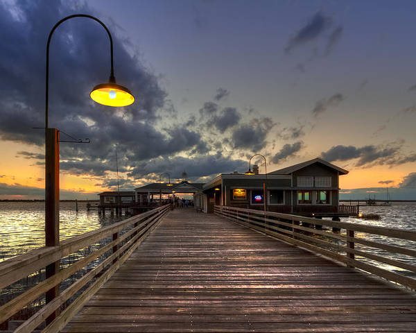 Boats Poster featuring the photograph Dock Lights At Jekyll Island by Debra and Dave Vanderlaan
