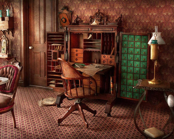 Doc Poster featuring the photograph Doctor - Desk - The Physician's Office by Mike Savad