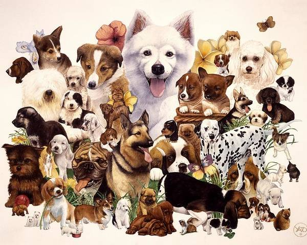 Dogs Canvas Prints Poster featuring the painting Dog And Puppies by John YATO