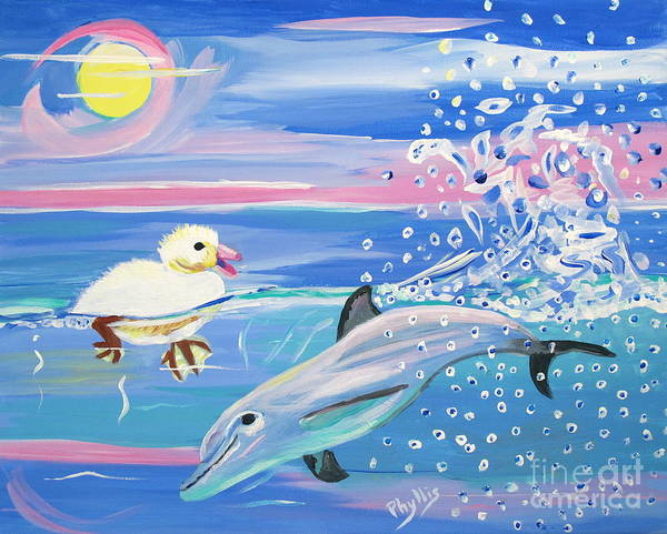 Sun Poster featuring the painting Dolphin Plays With Duckling by Phyllis Kaltenbach