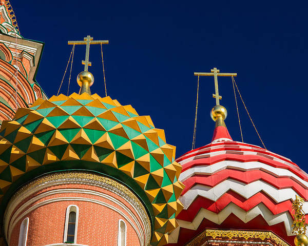 World Poster featuring the photograph Domes Of Vasily The Blessed Cathedral - Feature 3 by Alexander Senin