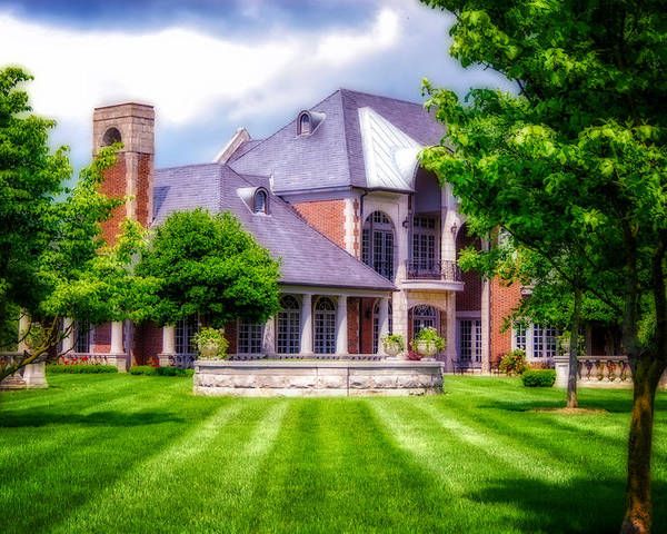 Donamire Horse Farm. Mansion. Home. House. Brick Home. Architecture. Trees. Landscape. Lawn. Grass. Fence. Stone Fence. Flowers. Shrubs. Cloudy Skies. Fireplace. Photography. Digital Art. Print. Canvas. Nature. Wildlife. Poster featuring the photograph Donamire Farms by Mary Timman