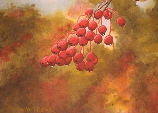 Rick Huotari Poster featuring the painting Door County Cherries by Rick Huotari