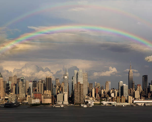 New York City Skyline Poster featuring the photograph Double Rainbow Over Nyc by Susan Candelario