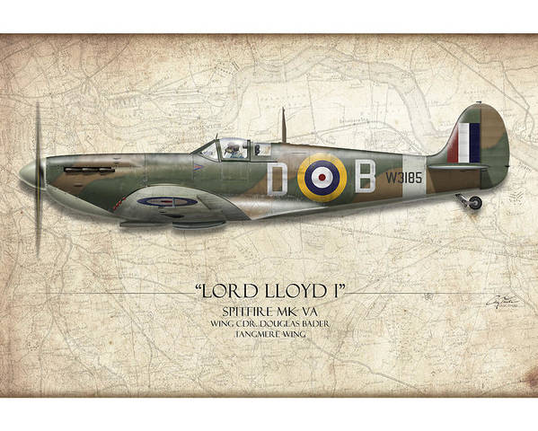 Aviation Poster featuring the painting Douglas Bader Spitfire - Map Background by Craig Tinder