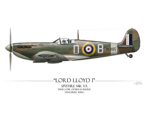 Aviation Poster featuring the painting Douglas Bader Spitfire - White Background by Craig Tinder