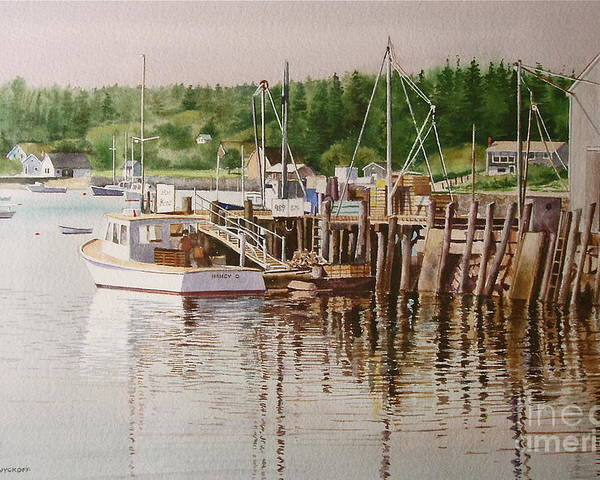 Harbor Poster featuring the painting Downeast Reflections by Karol Wyckoff