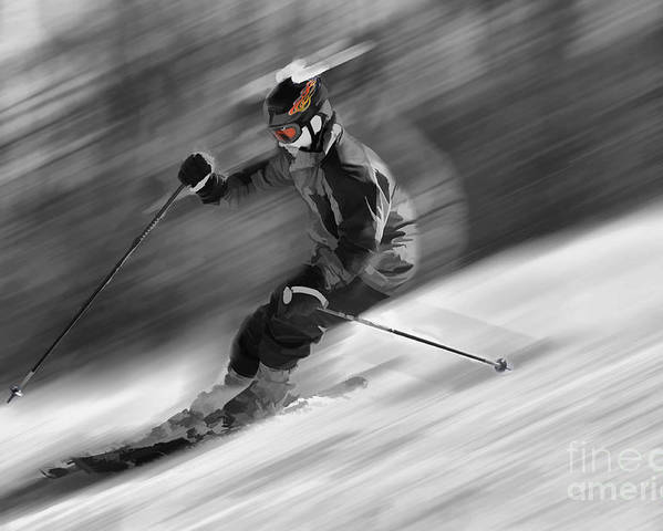 Snow Scenes Poster featuring the photograph Downhill Skier by Dan Friend