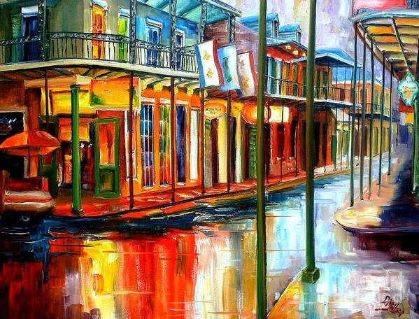 New Orleans Poster featuring the painting Downpour On Bourbon Street by Diane Millsap