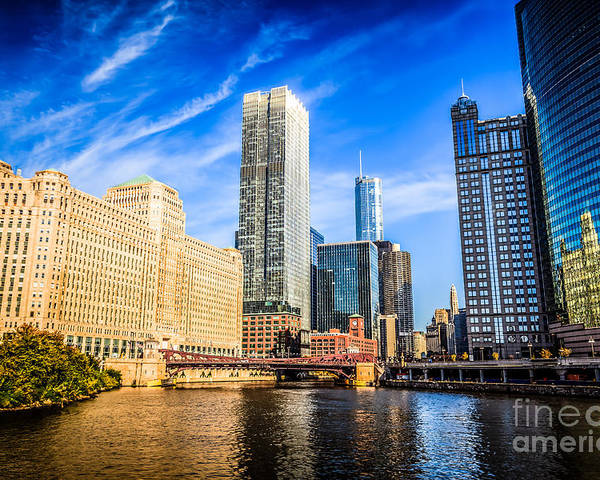 America Poster featuring the photograph Downtown Chicago At Franklin Street Bridge Picture by Paul Velgos