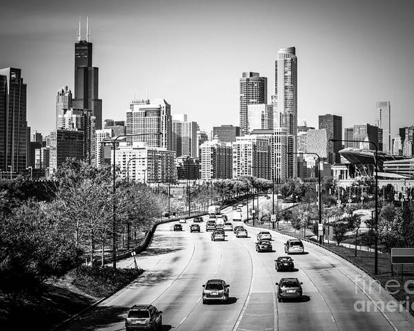 Lake Shore Drive 01 Chicago Skyline hnPrints Linocut Print