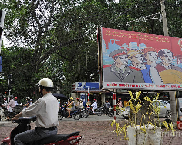 Vietnamese Poster featuring the photograph Downtown In Hanoi by Sami Sarkis
