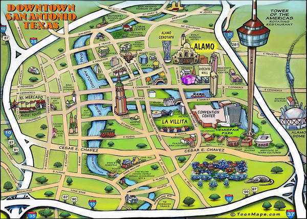 Downtown San Antonio Texas Cartoon Map Poster by Kevin Middleton on