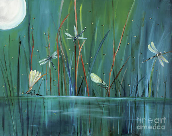 Dragonfly Poster featuring the painting Dragonfly Diner by Carol Sweetwood